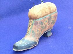 Antique Victorian Wooden Carved Painted Folkart Womens Shoe Velvet Pincushion