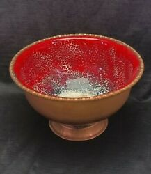 Arts And Crafts Serge Nekrassoff Forged Copper Fire Red Enamel Bowl Compote