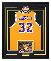Magic Johnson Los Angeles Lakers Nba Autographed 30x34 Framed Basketball Jersey