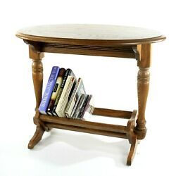 Vintage Oak Accent Table With Magazine Book Cd Rack Null Industries