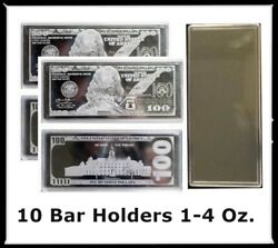 10 Coin Safe Hard Acrylic Bar Capsule For 1-4 Oz Silver Currency Display Holders