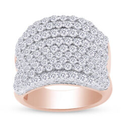 5.9 Ct Round Lab Grown Diamond Bold Pave Concave Ring 14k Rose Gold Over