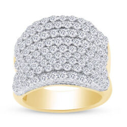 5.9 Ct Round Lab Grown Diamond Bold Pave Concave Ring 14k White Gold Over