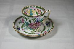 Minton Globe Stamp England Green Band Large Floral Demitasse Cup And Saucer B796
