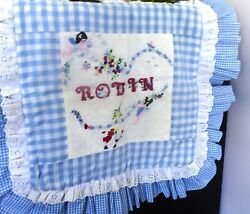 Vintage 1980s Hand Embroidered Pillow Cover 4 Robin
