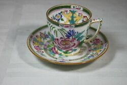 Minton Globe B796 Smooth Demitasse Cup And Saucer Green Bands Large Floral