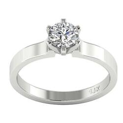 Genuine Lab Grown Diamond Vs1 D 0.90ct Solitaire Anniversary Ring 14k White Gold