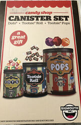 Candy Shop Canister Set 3 Tin Storage Containers Bigmouth Inc Tootsie Roll Nib