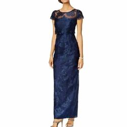 ADRIANNA PAPELL Women#x27;s Navy Popover Embroidered Lace Evening Gown Dress 6 TEDO $50.39