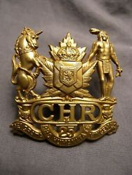 Colchester And Hants Regiment Wwii Cap Badge M.114 1st Type Chr C.h.r. 25 Canada
