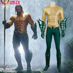 Cosonsen Aquaman Arthur Curry Cosplay Costume Halloween Outfit Full Set Made
