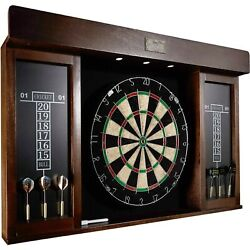 Dart Board Led Light Set 40 Inch Mark Eraser Dartboard Cabinet 6 Steel Tip Darts