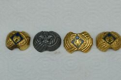 4 Vintage Boy Scout Neckerchief Slides-one Pewter American Eagle And Three Gold