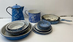 Early 20th Century Blue And White Graniteware Misc Pieces W/ Coffee Pot