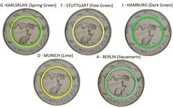 5x Germany 5 Euro 2019 Temperate Zone Rabbit Bunny Green Polymer Ring G278