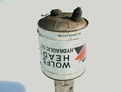 Rare Vintage Wolf's Head Hydraulic Oil 5 Gallon Can Upside Down Label
