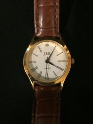 Jacqueline Kennedy Watch Brown Leather Band Gold Plated New Battery