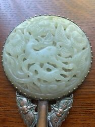 Antique Carved Chinese Nephrite Jade Hand Mirror
