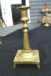 17th Century Latin Group Brass Footed Candlestick