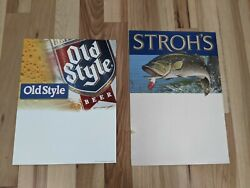 2 Nos Vintage Old Style And Strohs Beer Standup Advertising Signs Fishing