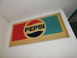 Vintage 1970 Pepsi Cola Embossed Molded Plastic Sign Clean And Nice 70 X 36
