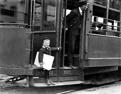 1910 Young Newsboy on Streetcar St Louis Vintage Photo 8.5quot; x 11quot; Reprint $11.50