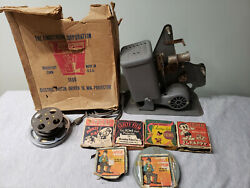 Works Lindstrom Toy 16mm Movie Film Projector With Films - As Is