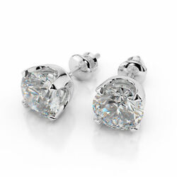 Sparkling 14kt White Gold Round Cut Diamond Stud Earrings 1.50 Ct H/si2