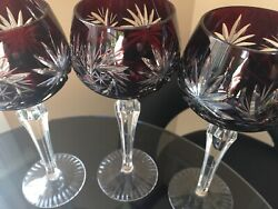Ajka Cut To Clear Ruby Red Wine Water Goblet Set Of 3