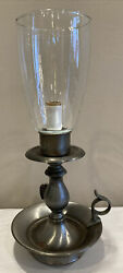 """Vintage Rustic Finger Table Lamp Electric Silver Tone Glass Shade Farmhouse 13"""""""