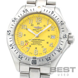 Breitling Super Ocean A17345 A185i01pfa Menand039s Yellow Stainless Steel Watch