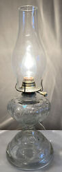 Vintage Pressed Clear Glass Converted Electric Hurricane Table Lamp Glass Shade