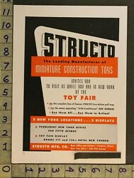1949 Toy Fair Ad Structo Mfg Co Miniature Construction Action Pull New York Tg73