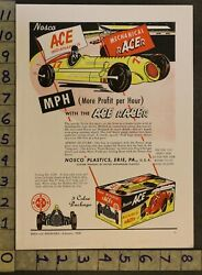 1949 Nosco Ace Race Car Indianapolis Erie Lone Ranger Pistol Western Toy Ad Tq12