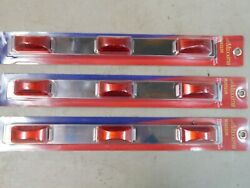 Maxxima M20323r Stainless Steel Id Bar 8 Led Each Red Lens Lot Of 3, 16 Bars
