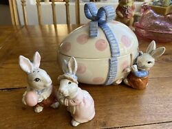 1990 Fitz And Floyd Easter Pink Polka Dot Bunny Egg Candy Dish And Salt And Pepper Set