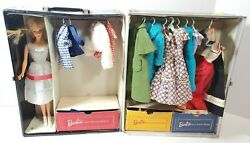 Vintage Lot 1963 Barbie Japan Doll Black Wardrobe Trunk W/ Outfits And Accessories