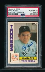 1984 Topps Traded 13t Yogi Berra Signed Autograph Yankees Manager Psa Dna Swsw