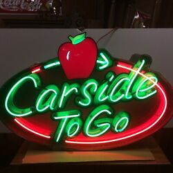 """Neon Advertising Sign For Applebee's """"carside To Go"""" 46 1/2"""" L"""