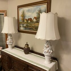 Pair Of Ardalt Fiori Bianco Capodimonte Lamps And Finials Floral And Fruit Italy
