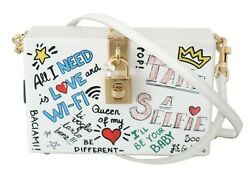Dolce And Gabbana Bag Purse Hand Painted Wooden White Box Sicily Leather Rrp 2600