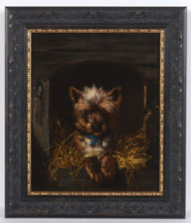 Henriette Ronner-knip-attrib. Yorkshire Terrier In His Kennel, Oil Painting