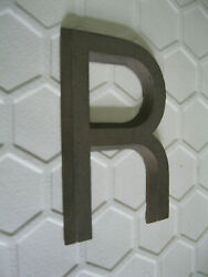 Antique Heavy Bronze Salvaged Architectural Metal Letter R Cast 4-3/8 Tall