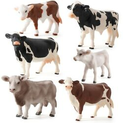 Toy Cow Action Figure Plastic Models Miniatures Cows Simulated Animal Figurines
