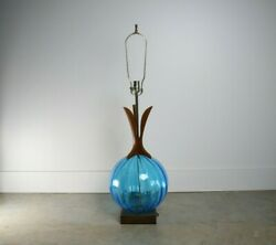 Mid Century Modern glass and walnut table lamp
