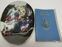 2004 Oval Annunciation Decorative Plate And Rosary Booklet.