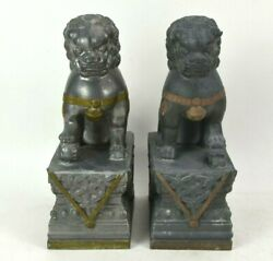 Pair Of Chinese Foo Dog Statues Figures Pewter Metal 10.5 Tall Doorstop Weight