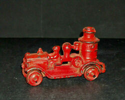 Early Cast Iron Toy - Red Pumper Fire Truck - Metal Wheels