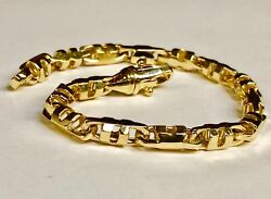 14k Solid Yellow Gold Menand039s Anchor Mariner Link Chain Bracelet 6mm 25 Grms 7.5