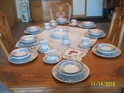 Acsons Dimaond Porcelain Vtg China Scroll Pink Floral Pattern 48 Piece Grouping
